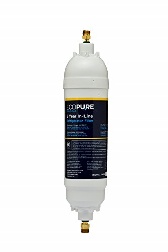 EcoPure EPINL30 5 Year in-Line Refrigerator Filter-Universal Includes Both 1/4' Compression and Push...