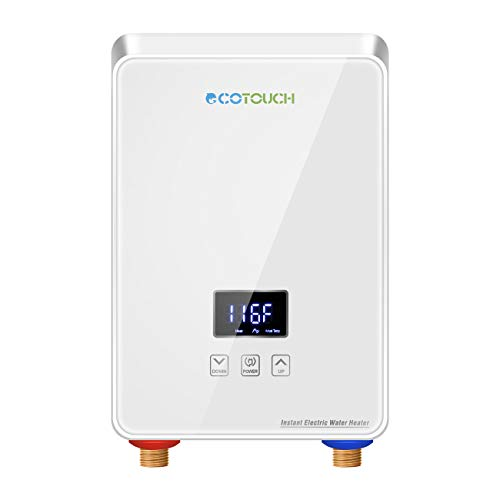 Tankless Water Heater Electric 5.5kw 240V, ECOTOUCH Point-of-Use Hot Water Heater Digital...