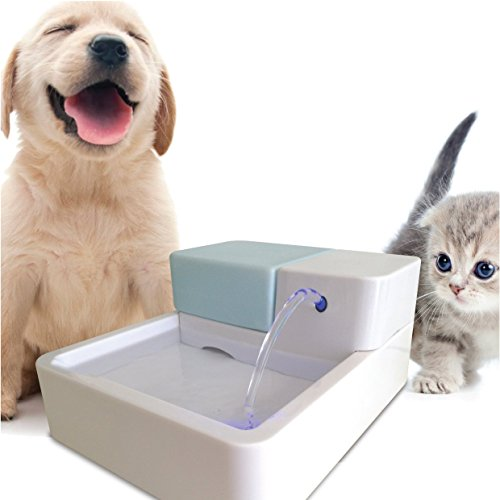 Uniclife Pet Water Fountain, Dog Cat Automatic Electric Drinking Bowl with LED Light