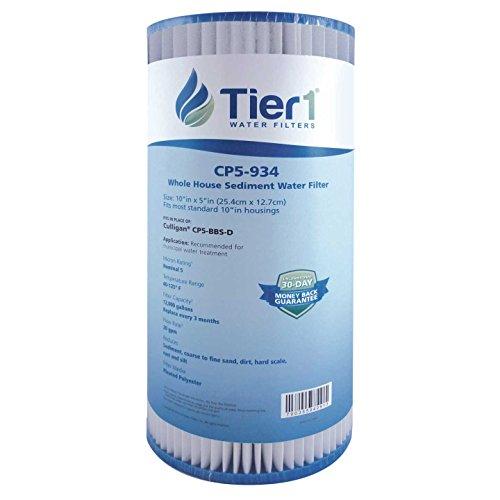 Tier1 CP5-BBS-D, CP5-BB, W5CPHD 5 Micron 10 x 4.5 Pleated Polyester Sediment Culligan, Pentek & Amer