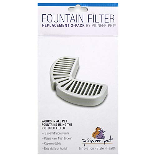 Pioneer Pet Replacement Filters for Ceramic & Stainless Steel Fountains, Raindrop Filters (3...