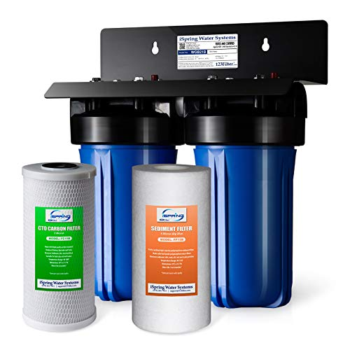 iSpring WGB21B 2-Stage Whole House Water Filtration System with 10' x 4.5' Big Blue Sediment...