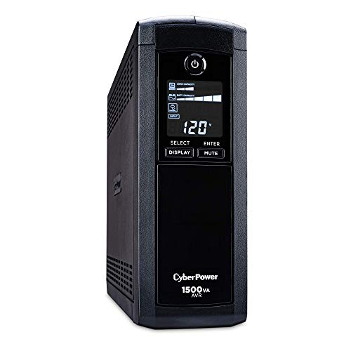 CyberPower CP1500AVRLCD Intelligent LCD UPS System, 1500VA/900W, 12 Outlets, AVR, Mini-Tower, Black