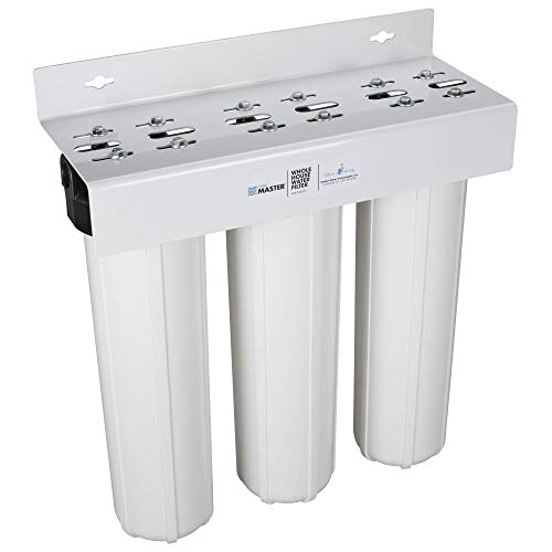 Home Master Whole House Three Stage Water Filtration System with Fine Sediment, Iron and Carbon,...