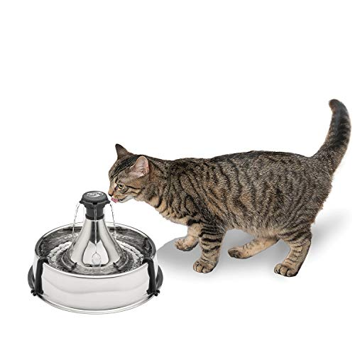 PetSafe Drinkwell Stainless 360 Multi-Pet Fountain - 128 oz Capacity Water Dispenser for Cats and...