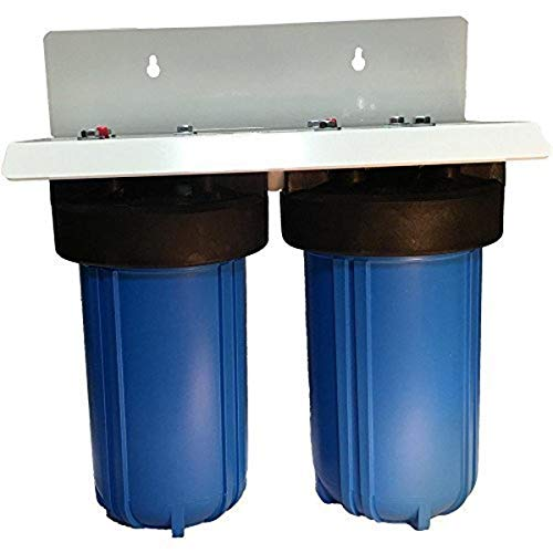 10' 2 Stage Big Blue Whole House Complete Water Filter System with 4.5' diameter Sediment and Carbon...