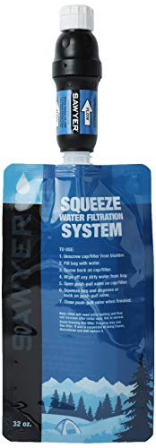 Sawyer Products SP129 Squeeze Water Filtration System w/ Two 32-Oz Squeeze Pouches, Straw, and...