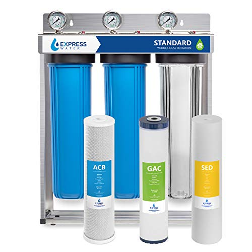 Express Water Whole House Water Filter – 3 Stage Home Water Filtration System – Sediment,...