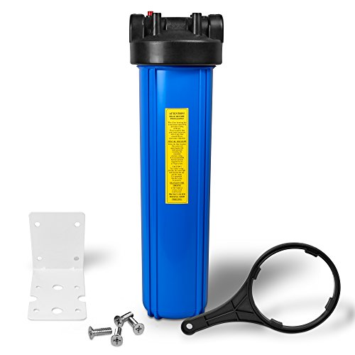 20' Big Blue Housing Whole House Water Filtration System 1' Inlet/Outlet Brass Ports Pressure Relief...