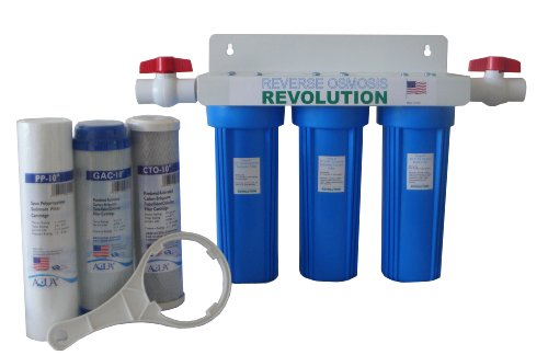 Reverse Osmosis Revolution Whole House 3-Stage Water Filtration System, 3/4' Port with 2 valves and...