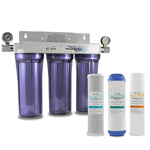 3 Stage 10 inch Whole House Water Filter Clear Housing Water Filtration System SED,GAC,CTO Carbon...