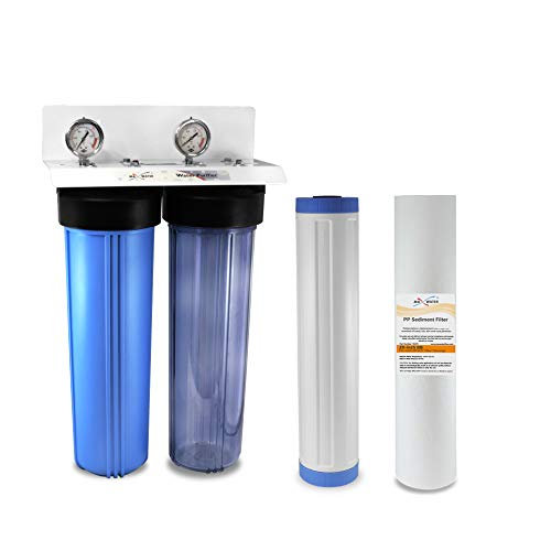 20 in x 4.5 in Big Blue Two Stage Clear Whole House Water Filter System,1' in/Out Port Double O Ring...