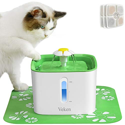 Veken Cat Water Fountain, 84oz Automatic Pet Water Fountain Dog Water Dispenser with 3 Replacement...