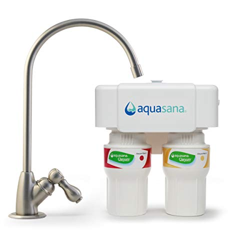 Aquasana AQ-5200.55 2-Stage Under Sink Water Filter System with Brushed Nickel Faucet