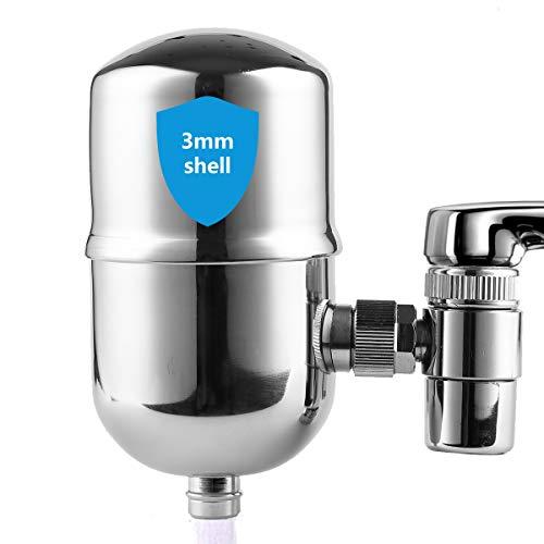 WINGSOL Faucet Water Filter Stainless-Steel Reduce Chlorine Speedy Flow, Japan PAC Filter Improve...