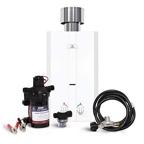 Eccotemp L10 Portable Water Heater w/ EccoFlo Diaphragm 12V Pump and Strainer