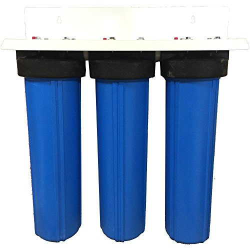 3 Stage 20' Big Blue Whole House Activated Alumina Water Filter w/Radial Flow Carbon Block - Removes...