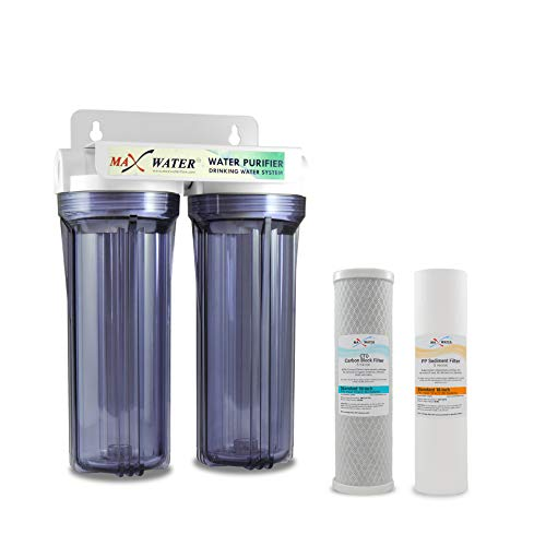 10' Whole House 2 Stage Water Filter System, Clear Filter Housing w/ 10' x 2.5' 5-Micron...