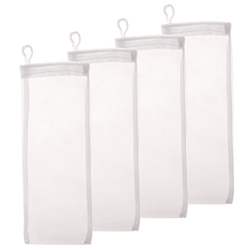 Fine Mesh Media Filter Bags - 3' by 8' - 4 Pack with Drawstrings for Bulk Activated Carbon -...