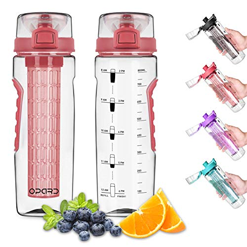 Opard Water Bottle with Time Marker, 30 oz Sports BPA Free Plastic Reusable Fruit Infuser Water...