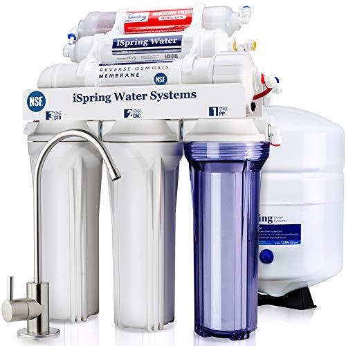 iSpring RCC7AK 6-Stage Under Sink Reverse Osmosis Drinking Water Filter System, NSF Certified, 75...