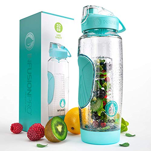 Infusion Pro 32 oz Infuser Water Bottle With Fruit Infuser - Insulated Sleeve & Fruit Infused Water...