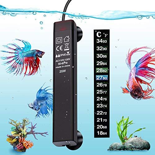 VIBIRIT Aquarium Heater,Betta Fish Tank Heater 25W Smart Small Aquarium Heater,Energy Efficient...
