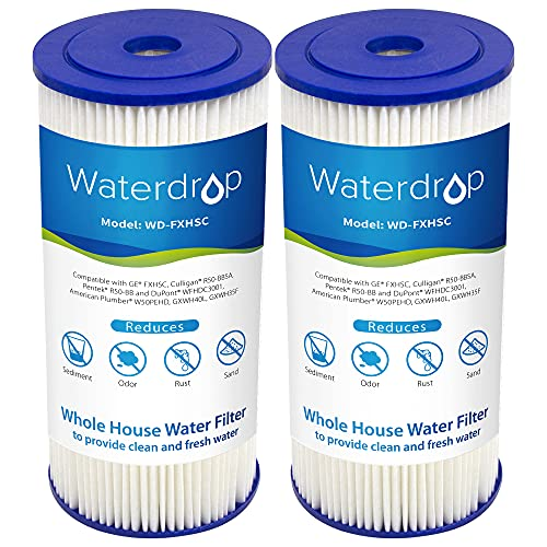 Waterdrop 10' x 4.5' Whole House Pleated Sediment Filter, Replacement for GE FXHSC, Culligan...