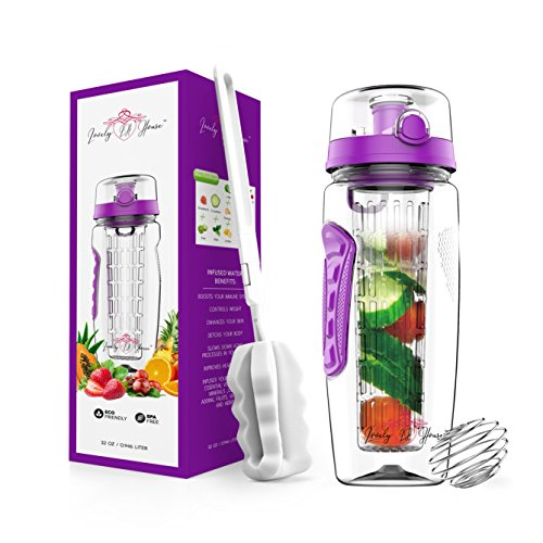 Fruit Infuser Water Bottle 32 oz: Flavored Water & Tea Infusion for Hydration, Protein Shake Sports...