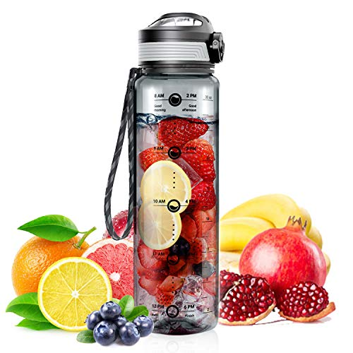 STOON Water Bottle with Time Marker, 32oz BPA Free Sports Fruit Infuser Water Bottle - Fast Flow,...