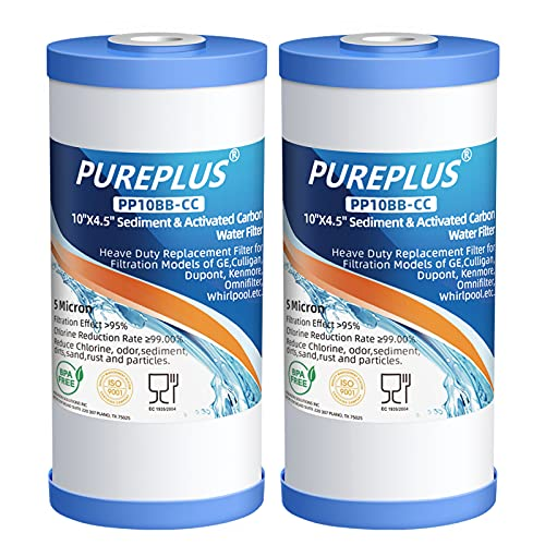 PUREPLUS 5 Micron 10' x 4.5' Whole House Sediment and Carbon Water Filter Replacement Cartridge for...