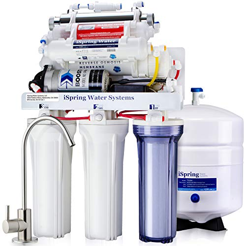 iSpring RCC1UP-AK 100GPD Under Sink 7-Stage Reverse Osmosis RO Drinking Filtration System and...