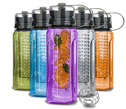 Luxury Series - Water Bottle BPA Free All-in-ONE - Fruit Infuser - Blender Bottle - Water Cup & Pill...