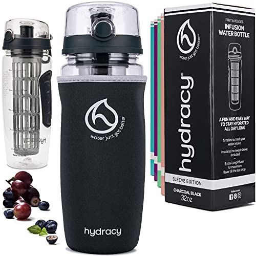 Hydracy Fruit Infuser Water Bottle - 32 oz Sports Bottle - Insulating Sleeve, Time Marker & Full...