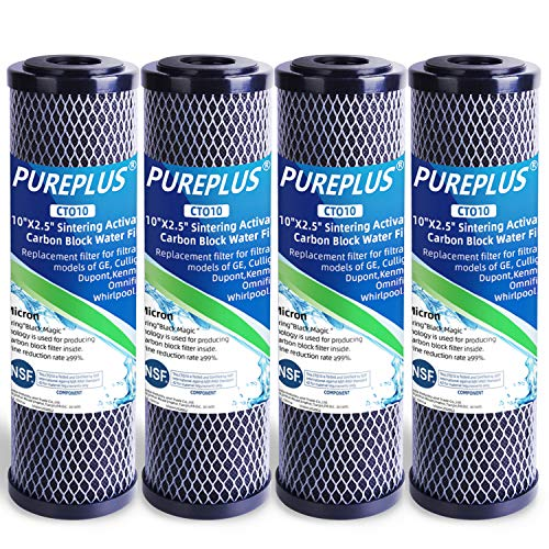 PUREPLUS 1 Micron 2.5' x 10' Whole House CTO Carbon Water Filter Cartridge Replacement for Home...
